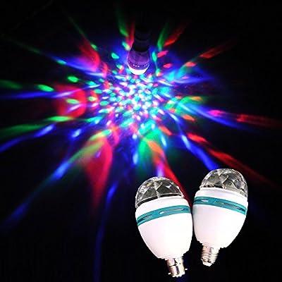 Megatek® 2 piece E27 3W RGB 360° Color Changing LED Spotlight auto Rotating Disco Lighting Lamp LED Bulb for Party DJ Disco KTV Bar Stage Ballroom Club