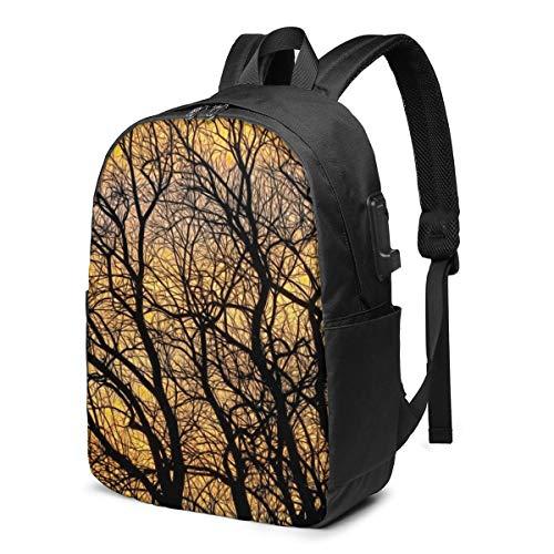 Glühender Himmel mit vielen Kahlen Zweigen von Laubbäumen Kordelzug Rucksack Saitentasche Wasserbeständiges Polyester für Fitness-Shopping Sport Yoga 11,8 x 16,9 Zoll