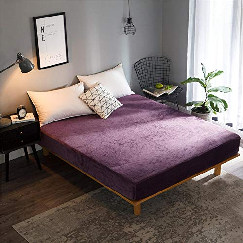 GTWOZNB Bed Sheets, Ultra Soft Silky Smooth and Wrinkle-Resistant Winter bed sheet thickening-dark purple a38_150*200+25cm