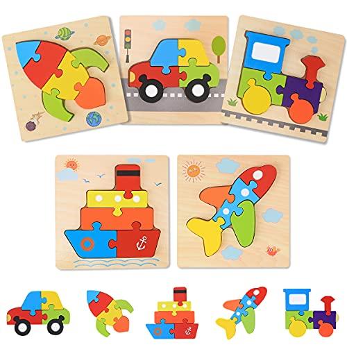 Puzzles de Madera de Vehículos Niños 2 3 4 5 años Rompecabezas de Transporte 5 Piezas Montessori Educativo Rompecabezas para Bebés Aprendizaje Regalo de Cumpleaños