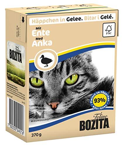 Bozita Häppchen in Gelee Nassfutter mit Ente im Tetra Recart 16 x 370 g - Getreidefrei - nachhaltig produziertes Katzenfutter für erwachsene Katzen - Alleinfuttermittel