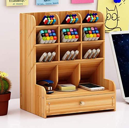 Schreibtisch Organizer Aufbewahrungsregal Stift Organizer Storage Holz Stiftablage Stifteköcher Stiftehalter Desktop Organisator Sortierelement für Büro Schule Zuhause
