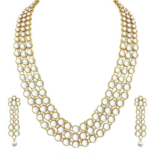 Aheli Ethnic Faux Kundan Studded Necklace with Earrings Set Indian Bollywood Style Wedding Party Wear Fashion Jewelry for Women Girls
