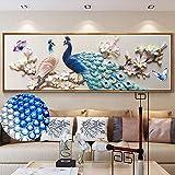 EXQUILEG 5D Full Bohrer Diamant Gemälde Pfau und Blumen Diamant Malerei Kristall Wandkunst Handwerk für Heimtextilien (H-43x120cm)