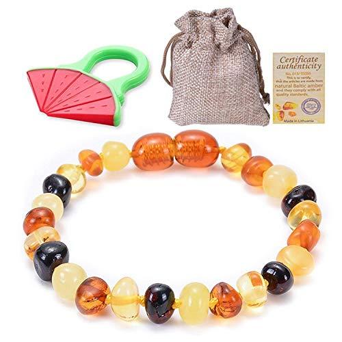 Haokaic Collar de Pulsera de ámbar para dentición de bebé para niños, niñas, Mujeres, Regalo para Damas, Cuentas de ámbar, joyería de Cuello de ámbar Natural(Duobao,15cm)