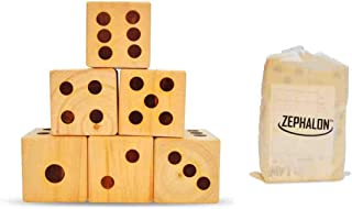 Giant Dice - Wooden Set for Yard & Lawn Games - Play Big Jumbo Yardzee & Yardkle at The Beach, Park, or Family Event