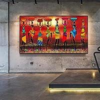 キャンバス画像壁アートアフリカの女性フィギュアアートキャンバス絵画壁アートプリントポスター画像リビングルーム家の装飾70x140cmフレームなし