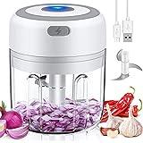 Mini Robot da cucina,Tritatutto elettrico con ricarica USB, Tritatutto da cucina elettrico con 3 lame affilate Macchina,Mixer Cucina per alimenti per bambini/Cipolle/Frutta (250ML)