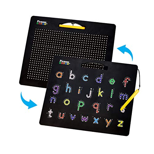 PicassoTiles 2-in-1 Double-Sided Magnetic Drawing Board Lower Case Alphabet Letter and Free Style Writing Reading Playboard 12x10 inch Large Magnet Tablet Pad Open-Ended STEAM Learning Playset PTB04