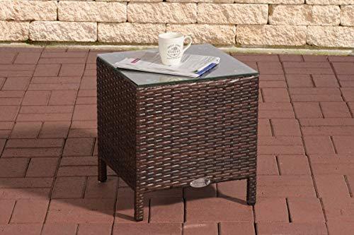 CLP Polyrattan-Beistelltisch Vilato Mit Aluminiumgestell Und Glastischplatte I Wetterfester Gartentisch Aus UV-Beständigem Kunststoffgeflecht, Farbe:braun-meliert
