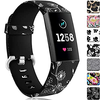 Maledan Compatible with Fitbit Charge 3 Bands, Water Resistant Breathable Strap Wristbands Compatible with Fitbit Charge 4/Charge 3/Charge 3 SE Fitness Activity Tracker, Flower Fairy, Small