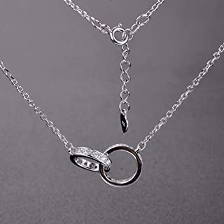 Plaquées Argent 925 Pendentif collier style chaîne 3 couches Perles givrées HG