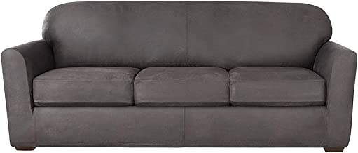 SureFit Ultimate Stretch Leather - Sofa Slipcover - Antiqued Slate