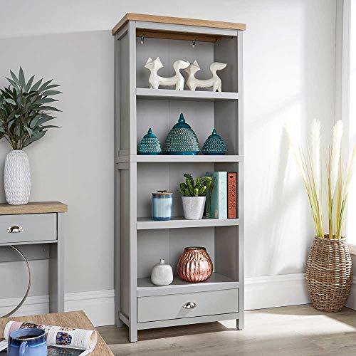 Home Source Oak Tall Bookcase Display Unit 4 Bookshelves Storage Drawer, Grey, Metal Handles