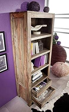 G Fine Furniture Wooden Bookshelf Furniture for Living Room | Open Bookcases Shelves | 4 Shelf and 2 Drawer Storage | Sheesha