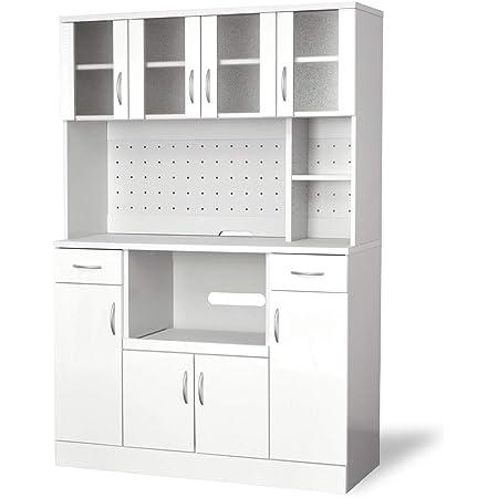 moca company Mirage 鏡面 キッチンボード レンジ台 幅120 コンセント付き 食器棚 大型レンジ対応 ホワイト