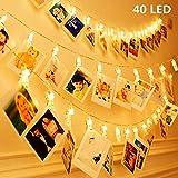 KNONEW LED Tira luminosa LED Clip - 40 pinzas para fotos tira de 2,4 Metros alimentada con pilas decoración para colgar fotos, notas, dibujos