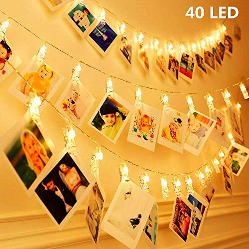 KNONEW 20 LED Photo Clip Cuerda Luces- 3 Metros LED Luces para decoración Foto Colgante, Notas, Obras de Arte (Blanco cálido)