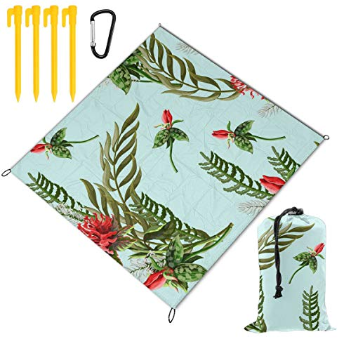 Great Features Of Hucuery Picnic Blanket 59 X 57 in Seamless Pattern with Tropical Flowers Foldable ...