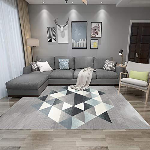 ZGYZ Home Moderne Kurzhaar-Fußmatte, marokkanisches Design Wohnzimmer Großer Teppichboden Schlafzimmer Bett, Grau,A,120×160