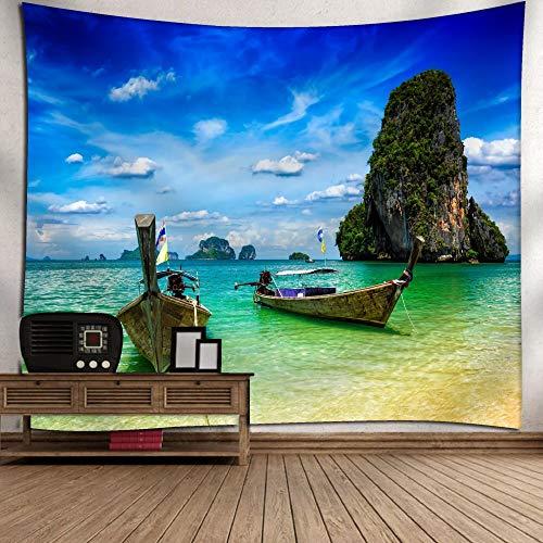 GenericBrands Ocean Sunrise Tapestry Escena Costera Natural Colgante de Pared Toalla de Playa Manta Decoraciones para el hogar para Sala de Estar