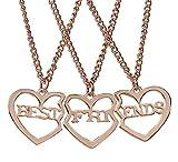 Reliablee - Collar con colgante de corazón BFF Best Friend Forever para 3 niñas y niños. Accesorios de amistad regalos Dorado