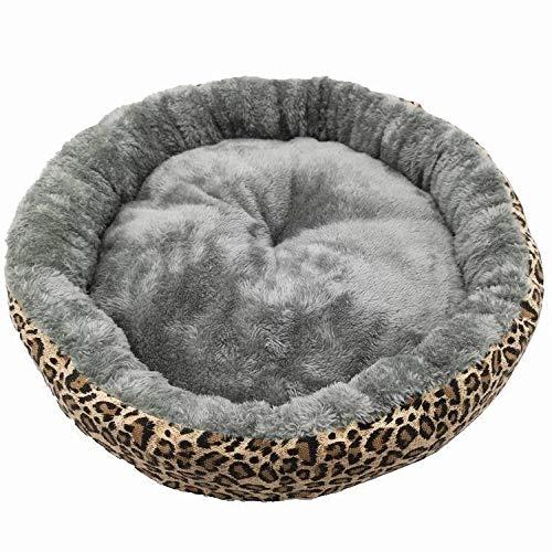 Cuccia per Gatti Letto per Cani Gatto , Lettino per Animale Domestico Lavabile in Morbido Peluche, Cuccia per Cani di Piccola Taglia e Gatti -Leopardo_M