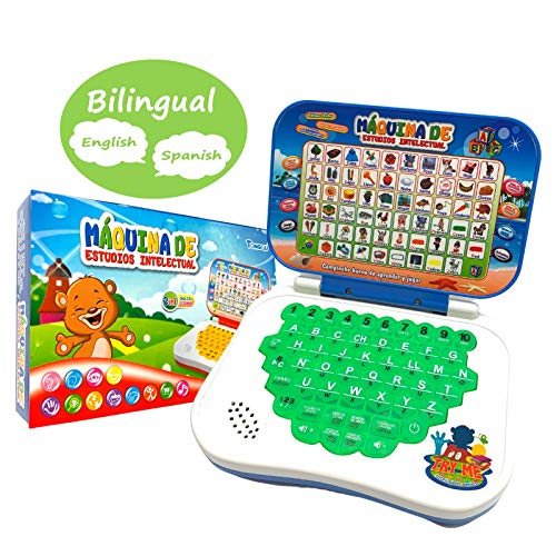 ZeenKind Bilingual Spanish English Learning Laptop Toy for Kids, Toddlers, Boys and Girls | Computer for Aphabet ABC, Numbers, Words, Spelling, Maths, Music