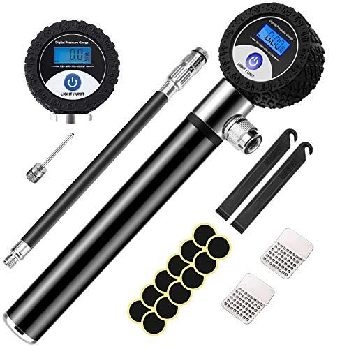 Bomba Para Bicicleta, mini bomba de bicicleta con indicador de presión LCD (120 PSI), bomba de bola con agujas kit de parche sin pegamento manguera de extensión, se adapta a válvulas Presta y Schrader