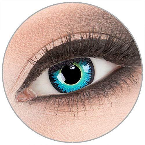 Farbige 'Seraphin' Kontaktlinsen von 'Evil Lens' zu Fasching Karneval Halloween 1 Paar blaue Crazy Fun Kontaktlinsen mit Behälter ohne Stärke