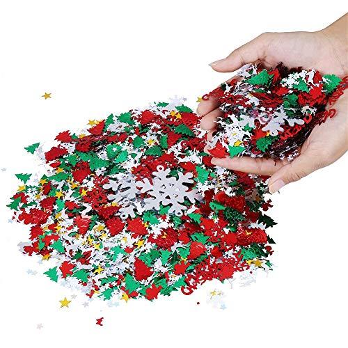 Longsing Coriandoli Di Natale,Natale Decorazioni Coriandoli Confetti da Tavola di Renne di Babbo Natale con Fiocchi di Neve per Decorazioni Natalizie 100g