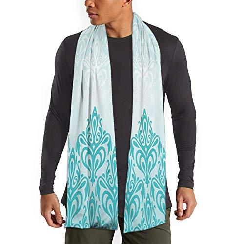JONINOT Bufanda degradada europea medieval Retro turquesa para mujeres hombres ligero Unisex primavera otoño invierno bufandas chal envuelve