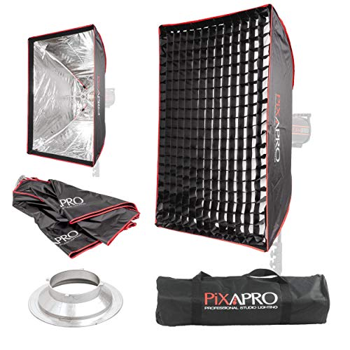 PIXAPRO Rechteckiger Studio-Stroboskop-Regenschirm, leicht zu öffnende Softbox, Multiblitz (P), Wabengitter, weich, diffuses Licht, tragbar, 60 x 90 cm, Halterung Multiblitz (P))