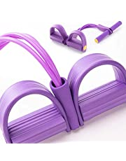CEWINO Pedal Resistance Band,4 Tube Natural Latex Tension Rope,Multifunction Sit-up Pull Rope Fitness Equipment for Abdomen, Waist, Arm, Yoga Stretching Slimming Training (purple4)