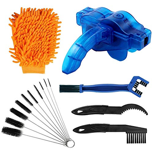 rorecay Bike Chain Cleaner Set: Bicycle Tools Kits Set with Sprocket Scraper Repair Machine Brushes Mitt Clean Gear for Mountain | Road | Park | Hybrid | BMX and Motorcycle(6 Pcs)