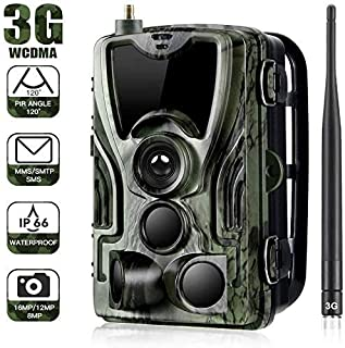 YKJL Trampa fotográfica de cámara Vida Silvestre 3G 16MP 1080P con transmisión teléfono Celular Cámara Caza a Prueba de Agua IP65 con Detector Movimiento Contiene Tarjeta SD- A
