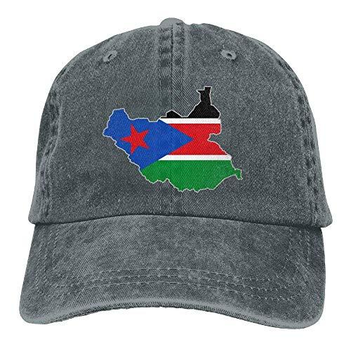 Ahdyr Gorra de béisbol Unisex Sombrero de Mezclilla teñido en Hilo Mapa de la Bandera de Sudán del Sur Gorra Ajustable de Hip Hop con Cierre Trasero-Asfalto