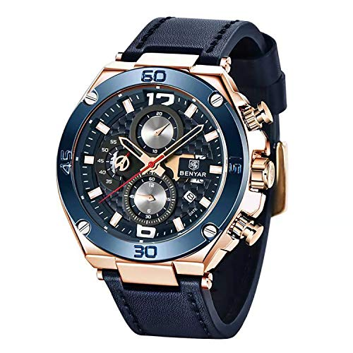 BENYAR Men Watch Quartz Chronograph Date 3ATM Waterproof Watches Business Sport Design Leather Strap Wrist Watch for Men Father (Rose Gold Blue)