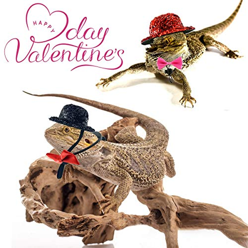 Vehomy 2 Sets of Valentine's Day Bearded Dragon Lizard Costume - Reptile Black Hat and Pink Bowtie Red Hat and Red Bowtie Pet Mini Top Hat Bow tie Outfit for Hamster Lizard Small Animals