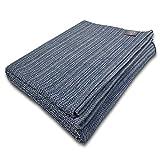 """Craft Story Decke """"Yara"""" I Uni Jeans-blau aus 100prozent Baumwolle I Tagesdecke I Sofa-Decke I Überwurf I Picknickdecke I Nutz- und Schutzdecke I ca.170 x 220cm"""