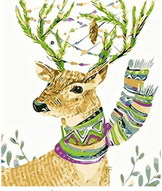 LIWEIXKY DIY Malerei by Zahlen Tierwandkunst Leinwanddrucke Handgemalte Leinwand Ölgemälde Hirsch Bild Wohnzimmer Wandbilder - Mit Rahmen - 40x50cm B07PR5896L | Exquisite Handwerkskunst