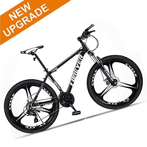 M-TOP Mountain Bike Bicicleta de Montaña Hombre Delante Suspension 3 Radios Ruedas Bicicleta de Trekking de Acero de Alto Carbono con Freno de Disco MTB,Negro,21 Speed 26 Inch