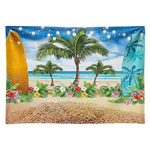 Alljoy Summer Beach Ocean - Telón de fondo para fotografía, diseño de palmeras tropicales, color azul