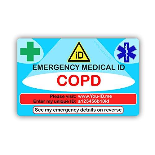 COPD Emergency Medical ID Wallet Identiteitskaart of portemonnee gebruikt U ID Me Service. Lifesaving Informatie aan Paramedics. Gratis sms Waarschuw mijn contacten 90 dagen proef. 2018 Ontwerp werkt met Smartphones etc.