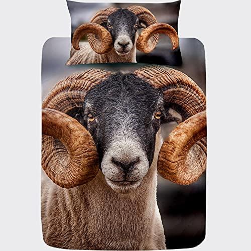 Juego de Funda Nórdica Cama 90 Oveja Pan, 3D Animal, Ropa de Cama 90x190 de Microfibra Suave...