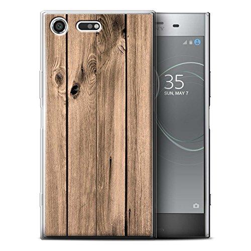Handy Hülle kompatibel mit Sony Xperia XZ Premium Holz/Holzmaserung Muster Brett Transparent Klar Ultra Sanft Flexibel Silikon Gel/TPU Case Cover
