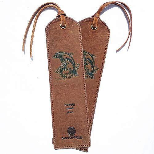 Segnalibro in pelle fatto a mano con design Delfino - Confezione da 2 segnalibri in vera pelle per uomo Donna e bambino | Ottima idea per regali in pelle per topo di biblioteca, parenti e amici