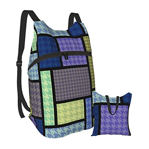 Grafffery Houndstooth Contrast Color Block Geometric Travel Hiking Backpack Daypack Laptop Backpack Lightweight Packable Foldable for Women and Men, College School