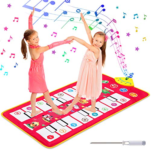 Homealexa Klaviermatte Kinder Piano Mat Tanzmatten Musikmatte mit 7 Tierstimmen Klaviertastatur Spielzeug...