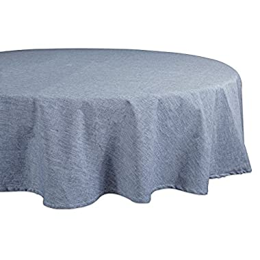 DII BLUE SOLID CHAMBRAY TABLECLOTH 70 ROUND
